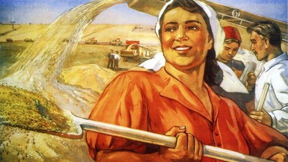 Kommunistisches Propaganda-Plakat aus der Sowjetunion