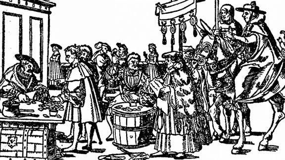 Druck zeigt Menschen im 16. Jahrhundert bei Ablasshandel
