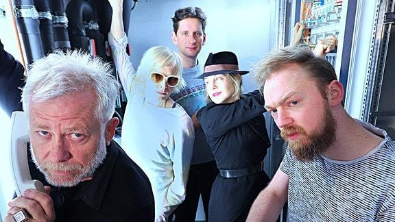 Asimovs Erben, Hörspiel, vlnr: Tilo Nest, Anne Müller, Sebastian Schwarz, Valery Tscheplanowa, Tino Mewes