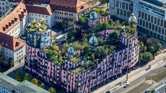 Luftaufnahme Grüne Zitadell in Magdeburg