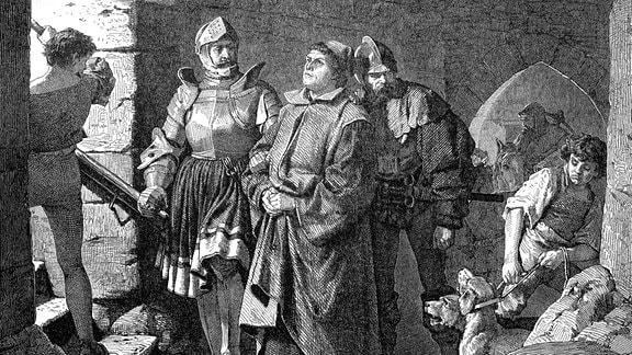 Die Ankunft von Martin Luther auf der Wartburg, Deutschland, Martin Luther, 1483 - 1546, war der theologische Urheber der Reformation