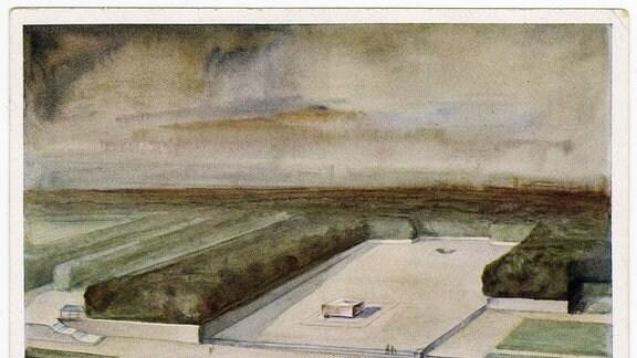 Wettbewerbszeichnung von Emil Hipp zum Richard-Wagner-Denkmal, Postkarte 1933