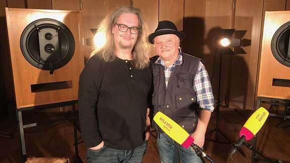 Jan Kubon (l.) und Axel Prahl bei der Studiosession.