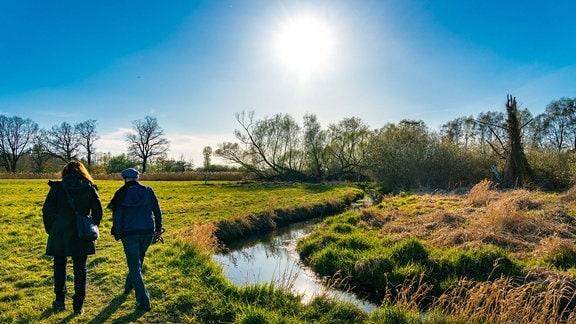 Zwei Spaziergänger laufen an einem Bach durch die sonnenbeschienenen Natur.