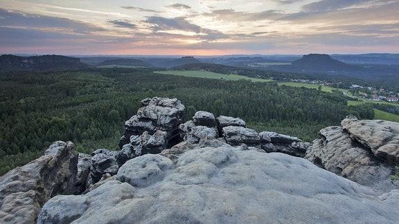 Abendstimmung auf dem Gohrisch im Elbsandsteingebirge