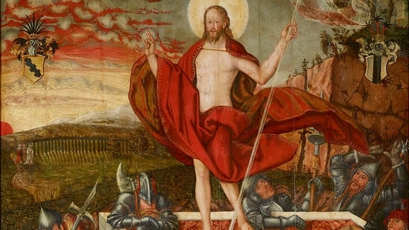 Lucas Cranach d.J. (Werkstatt): Auferstehung Christi mit Stiftern, 1562, Öl auf Lindenholz, 158x115,5 cm, Kunstmuseum Moritzburg Halle