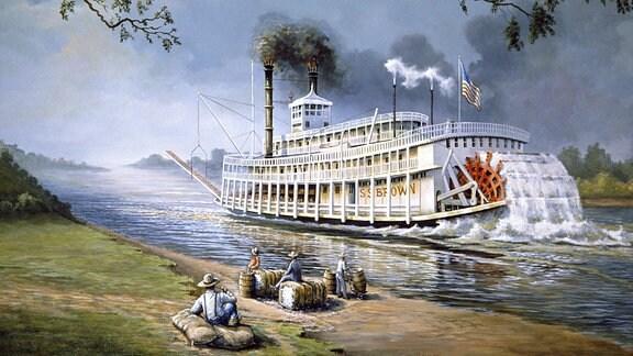 Wandgemälde eines Raddampfers auf dem Mississippi