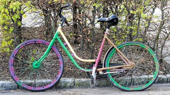Regenbogenfarbenes Fahrrad steht an einer Hecke.