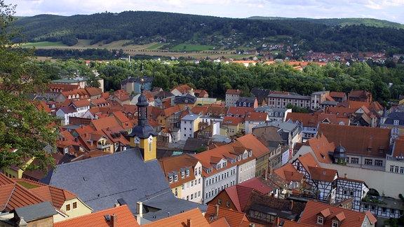 Blick von der Heidecksburg auf Rudolstadt