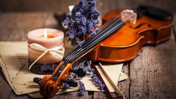 Nachtmusik - Komposition mit Violine und Lavendel