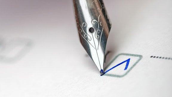 Mit einem Füller wird ein Häkchen gemacht