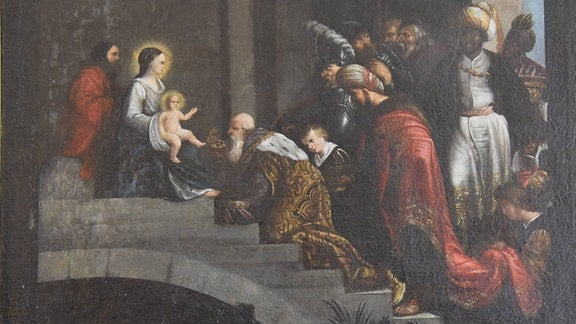 Gemälde der drei Heiligen aus dem Morgenland, im Dreikönigssaal des Briger Stockalperschlosses