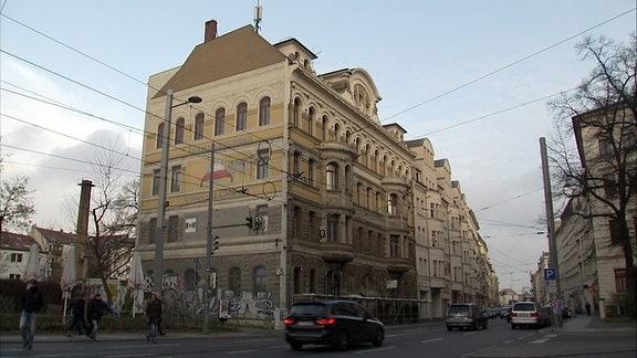 """Haus in der Leipziger Jahn-Alleee - Einer der Fälle, die Peng! in der Aktion """"Die Rückkehr der Entmieteten"""" benennt"""