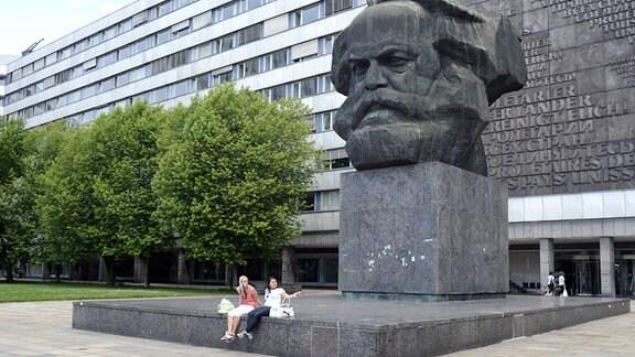 Das Karl-Marx-Denkmal des russischen Bildhauers Lew Kerbel, aufgenommen in Chemnitz