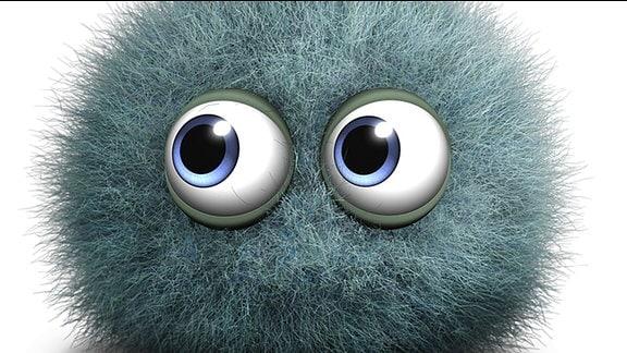 Eine blaue haarige Kugel mit zwei Augen.