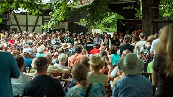 """""""Parkmusik"""" beim TFF Rudolstadt an den Thüringer Bauernhäusern im Heinepark"""