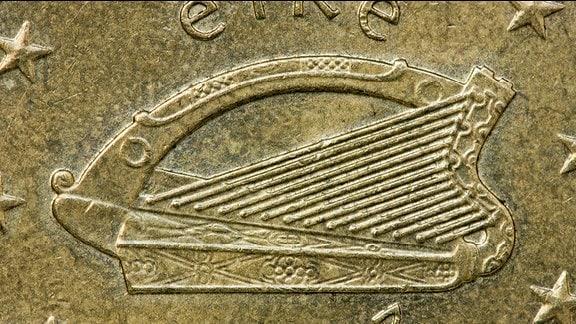 Keltische Harfe von Irland auf einer Euromünzen.