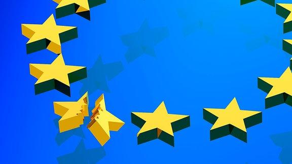 Die Sterne der Europa-Flagge, einer zerbricht