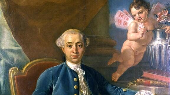 Das Casanova - Gemälde, wird dem Maler Anton Rafael Mengs (1728-1779) zugeschrieben