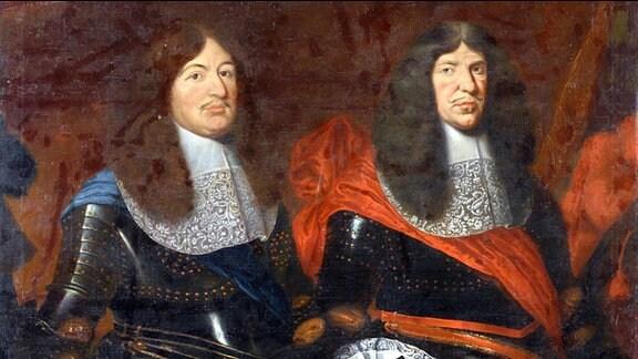 Johann Fink/Fincke (?), Johann Georg II. von Sachsen und Friedrich Wilhelm von Brandenburg, Um 1665; Öl auf Leinwand, 163 x 133 cm, Rüstkammer, Staatliche Kunstsammlungen Dresden