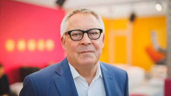 Karl Schlögel, Preisträger 2018 im Bereich Sachbuch des Preises der Leipziger Buchmesse, am Stand von MDR KULTUR  - 15.3.2018