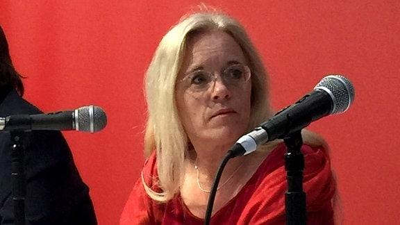 Susanne Dagen bei einer Debatte auf der Leipziger Buchmesse 2018