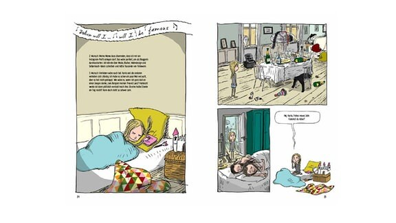 "Doppelseiten aus dem Comic ""Mira"""
