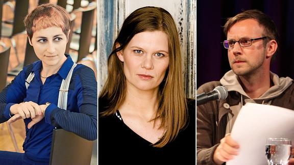 "Collage zu ""Denkzettelareale"" (v.l.n.r.) Ulrike-Almut-Sandig, Kerstin-Preiwuss, Carl-Christian-Elze"