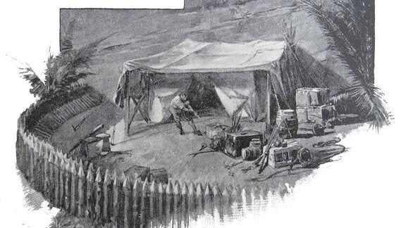 """Illustration aus einer Ausgabe des Buches """"Robinson Crusoe"""" aus dem 19. Jahrhundert"""