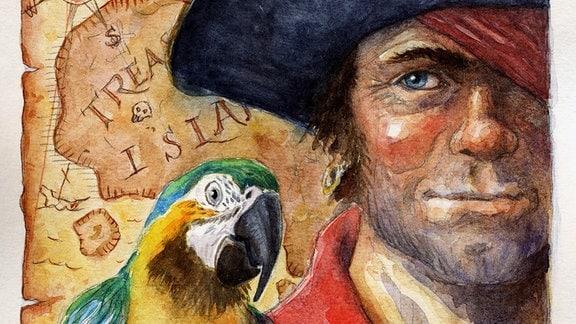 Porträt eines Piraten mit einem Papagei und Schatzkarte, Illustration von Didier Pizzi