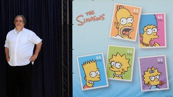Produzent Matt Groening während der Präsentation der Briefmarkenserie in Los Angeles.