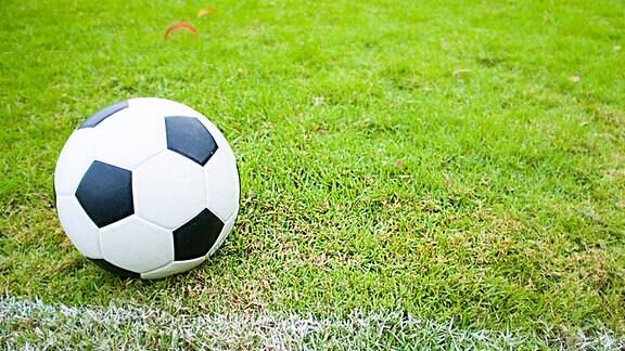 Ein groß zu sehender Fußball liegt auf dem Rasen.