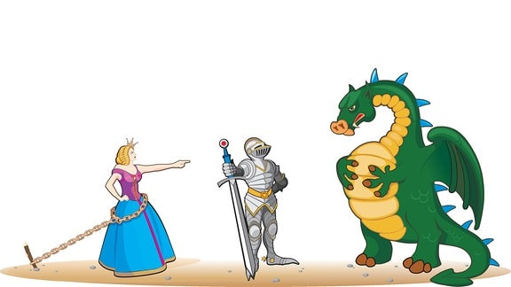 Drache, Ritter und Prinzessin
