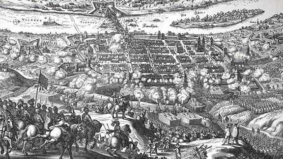 Belagerung Frankfurts an der Oder durch Gustav II. Adolf 1631, nach einem Kupferstich von Matthias Merian 1637