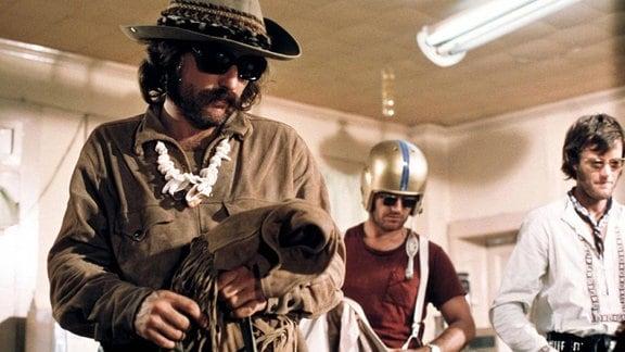 Dreharbeiten zu Easy Rider - Schauspieler Dennis Hopper, Jack Nicholson und Peter Fonda