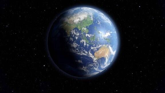 Ein Blick auf die Erde aus dem Weltraum.