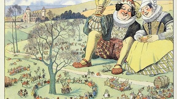 """Illustration zum Buch """"Gargantua und Pantagruel"""" von François Rabelais - ein Wimmelbild auf einer Wiese feiernden Volkes, betrachtet von einem Riesenpärchen"""