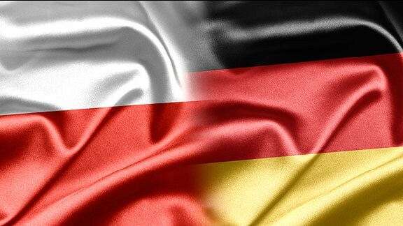 Die polnische und die deutsche Flagge