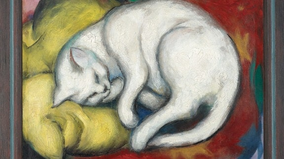 """Franz Marc - """"Die weiße Katze"""" (Kater auf gelbem Kissen), 1912"""