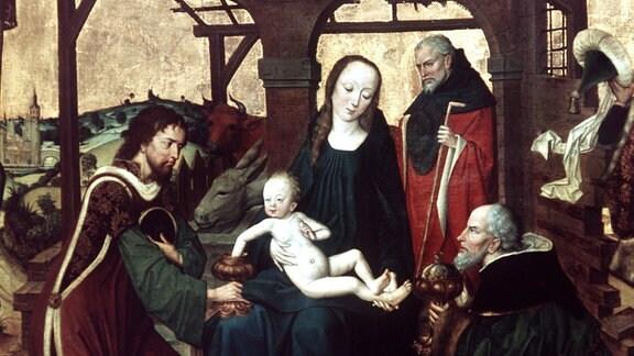 Ausschnitt des Gemäldes Anbetung der Heiligen drei Könige vom Meister des Marienlebens (um 1465).