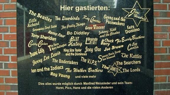 Gedenktafel 2009 am Starclub Hamburg
