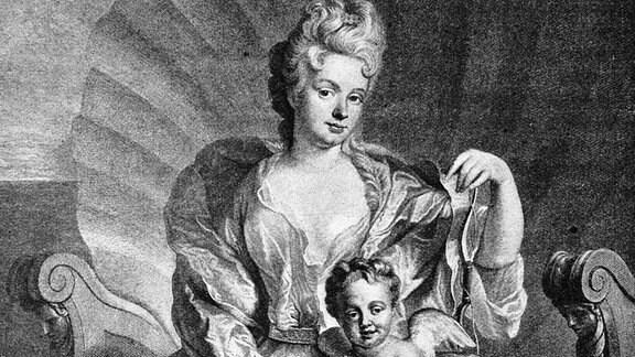 Gräfin Cosel, Maitresse August des Starken als Venus, historischer Holzschnitt, circa 1865.