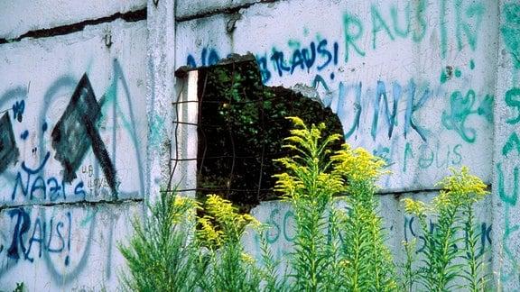 Loch in der Mauer an der ehemaligen Grenze zwischen DDR und BRD bei Görsdorf