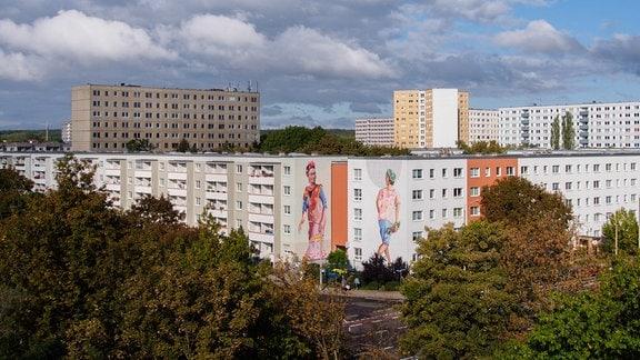 Eine von der Freiraumgalerie gestaltete Fassade in der Hallorenstraße in Halle-Neustadt.