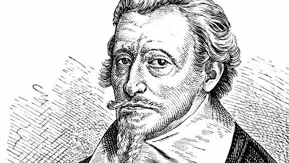 Historische Zeichnung aus dem 19. Jahrhundert, Portrait von Heinrich oder Henrich Schütz oder Henricus Sagittarius, 1585 - 1672