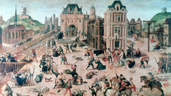 Paris während der Bartholomäusnacht 1572, zeitgenössisches Gemälde von François Dubois: Le massacre de la Saint-Barthélemy