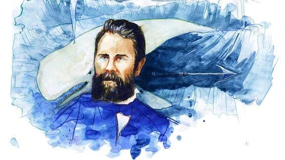 Ein gemaltes Portrait des Autors Herman Melville.