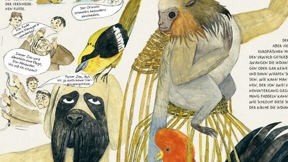 """Abbildung der Seiten 104 und 105 aus dem Buch """"Die Abenteuer des Alexanders von Humboldt""""."""
