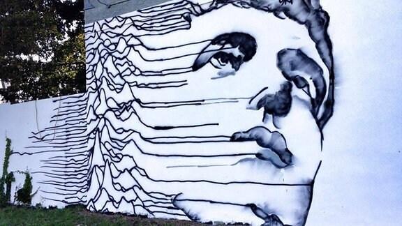 Wandbild von Joy Division Sänger Ian Curtis an einem Nachtcclub, 2014