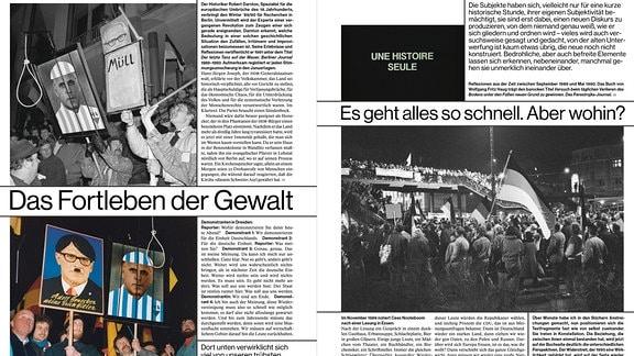 Eine Doppelseite aus dem Buch 'Das Jahr 1990 freilegen'